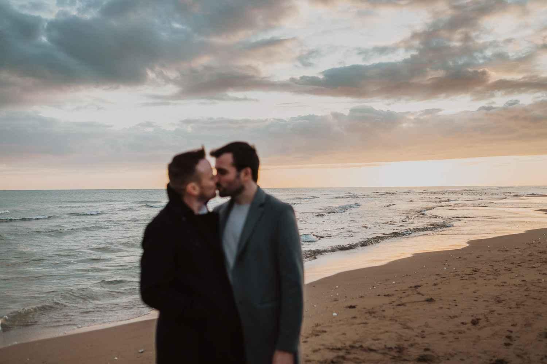 Same sex couple photos in the beach of Barcelona