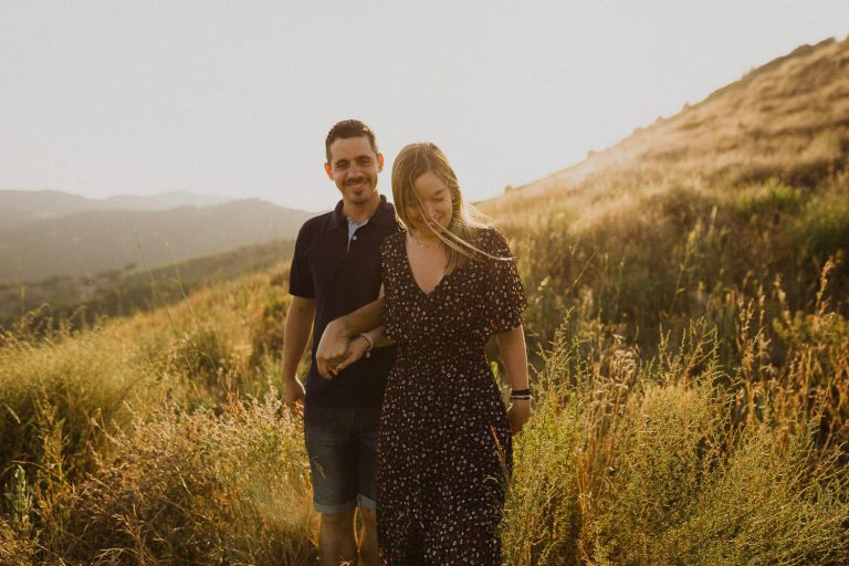 Engagement photo shoot in the nature near Barcelona