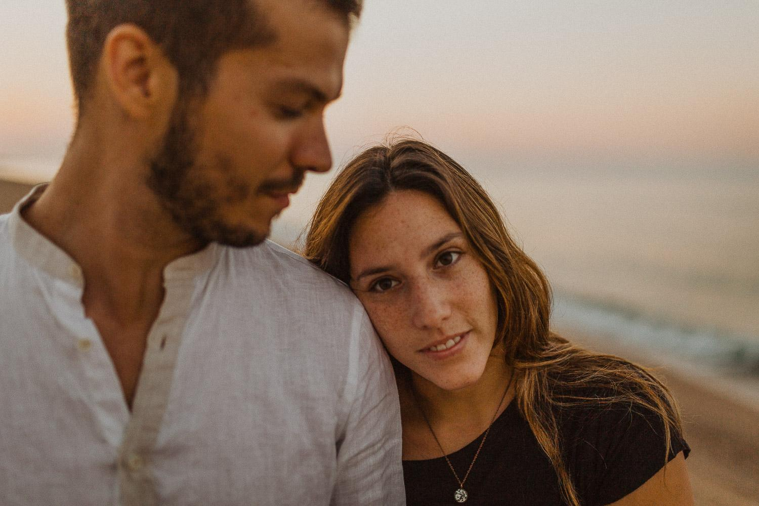 Engagement photo shoot in the beach of Barcelona