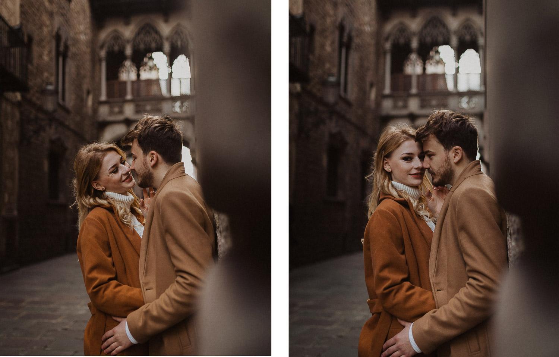Sesión de fotos de parejas en el Barrio Gótico