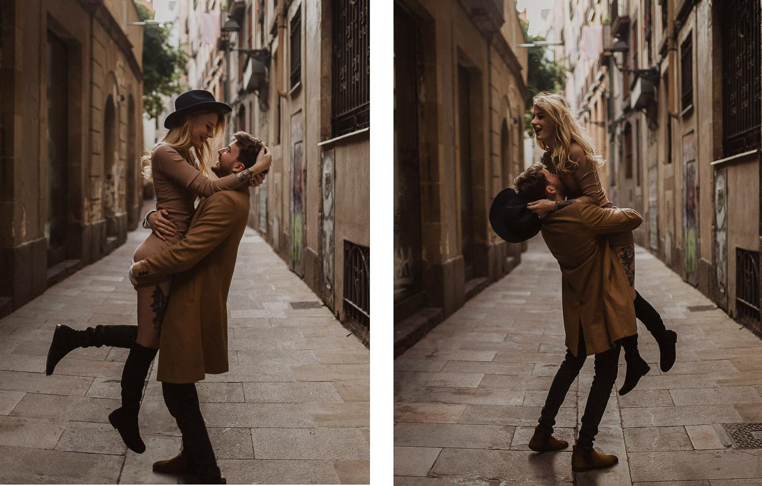 Couples photo shoot in the streets of Barcelona