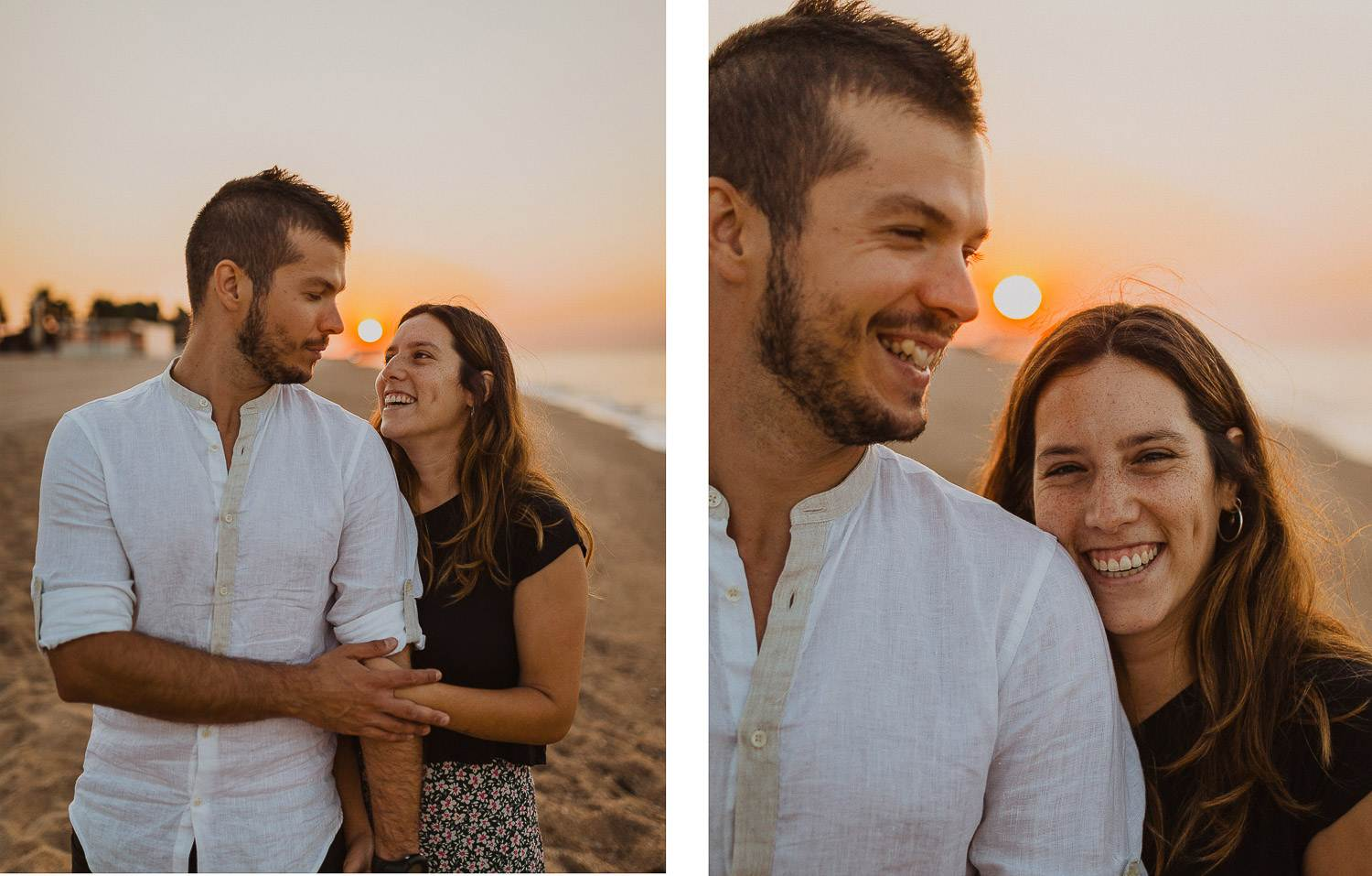 Engagement photo session in Barcelona beach during sunrise